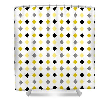 Black and Gold Diamond Pattern Shower Curtain