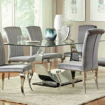 7 pc Manessier collection chrome metal base dining table set with glass top