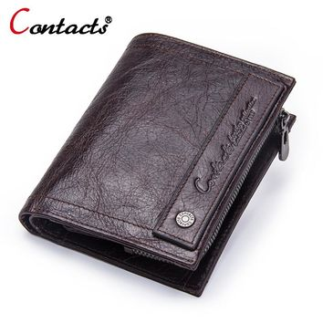 CONTACT'S Genuine Leather Men Wallets male clutch Fashion Coin Purse Pocket Famous Brand Small Zipper Wallet Photo card holder