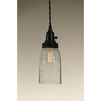 Quart Open Bottom Mason Jar Pendant Lamp - Clear Glass