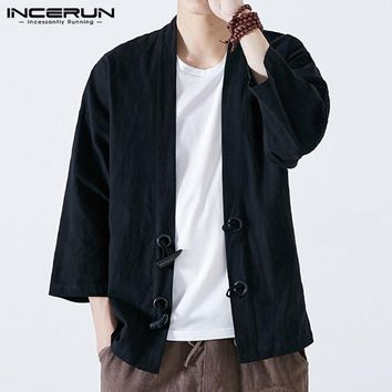 Trendy Japan Style Men Kimono Cardigan INCERUN Men Clothing Coats Jackets Vintage Open Stitch Retro Button Long Sleeve Fall Spring Male AT_94_13