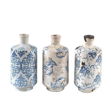 Terra-Cotta Vase With Transfer-ware Pattern Blue White Set of 3