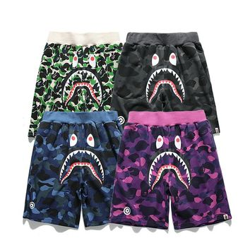 hcxx 2086 Bape Camouflage printed cotton shorts with shark head