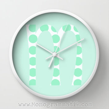 "Monogram Personalize ""Atifa"" Custom Wall Clock Natural Wood Black White Frame Home Decor Initials Name Letter Mint Chrysalis Green Polka Dot"
