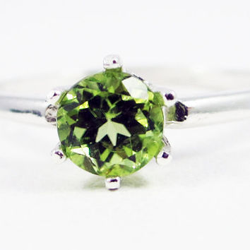 Peridot Solitaire Ring Sterling Silver, August Birthstone Ring, Sterling Silver Solitaire Ring, Peridot Gemstone Ring, 925 Sterling Silver