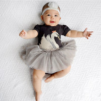 Baby Girls Dress New swan cartoon Casual Princess Dress Clothing Sets infant clothing