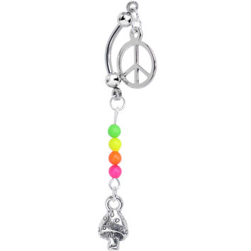 Mushroom Peace Double Mount Belly Ring Created with Swarovski Crystals