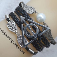 Harry Potter Deathly Hallows Bracelet harry potter jewelry Wings Bracelet Owls Bracelet Braided Leather Friendship gift Black Personalized