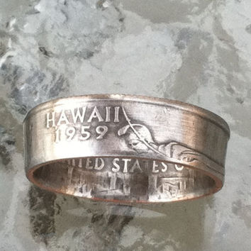Hawaii State Quarter You pick size Jewelry by Custom Coin Rings