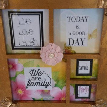 Up-cycled Cottage Chic Positive Saying Gold Wooden Picture Frame - Vintage Looking - Flowers and Butterflies
