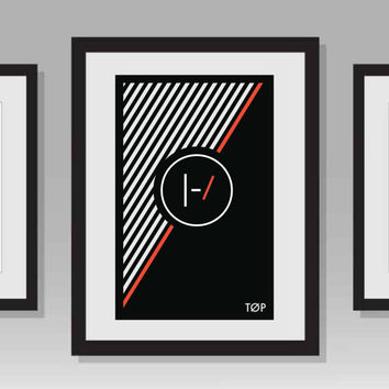 Twenty One Pilots- Minimal Black, White, and Red Stripe TOP Poster
