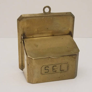 Rare french Wall Hanging Brass Salt Box, Brass and Copper Salt Cellar, Rustic Mid Century Wall Hanging Kitchen Decor Circa 1950 s