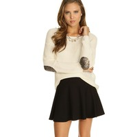 Ivory Sequin Patch Pullover Sweater
