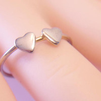 Delicate Double Heart Ring Size 6.5 Dainty Romantic Minimalist Feminine Jewelry Valentines Day