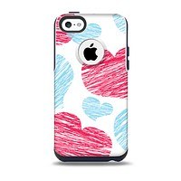 The Red and Blue Lopsided Loop-Hearts Skin for the iPhone 5c OtterBox Commuter Case
