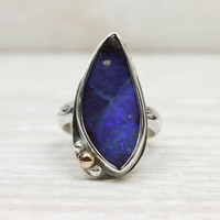 Violet Opal Cocktail Ring in Silver with Gold Accent