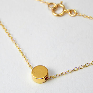 Gold Initial disc necklace, small round disc necklace, gold disc necklace, gold jewelry, monogram necklace, personal necklace, personalised