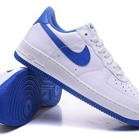 Nike Air Force 1 One Classic White / Blue Low Running Sport Casual Shoes 845053 102 Sneakers