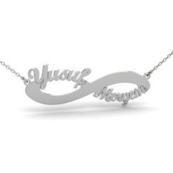 Sterling Silver Double Name Infinity Necklace