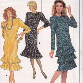 80s Drop Waist Dress Butterick 5717 Vintage sewing pattern Size 12 14 16 Bust 34 36 38 UNCUT FF