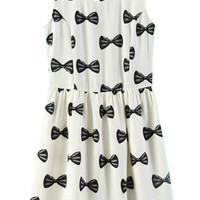 White Bow Printed Sleeveless Dress