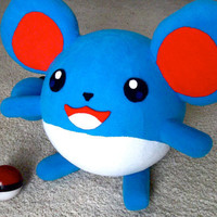 Handmade Marrill pokemon (w/faux pokeball)