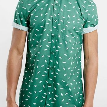 Men's Topman Slim Fit Short Sleeve Paper Boat Print Shirt