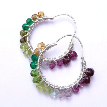 25% OFF STOREWIDE SALE Rainbow Hoop Earrings ~ Multi Gemstone Hoops ~Sterling Silver Hoop Earrings ~ Wire Wrapped Hoop Earrings