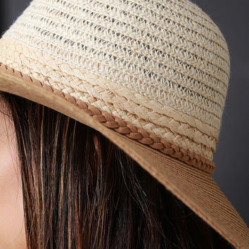 Multi-Color Braided Trim Straw Sun Hat