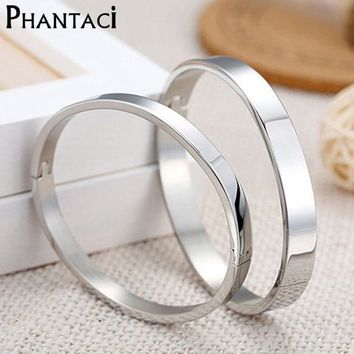 Luxury Lover Cuff Bracelets&bangles Top Silver Plated Brand Couples Simple Glaze Buckle Love Charm Bracelet For Women Or Men
