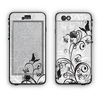 The Black and White Vector Butterfly Floral Apple iPhone 6 Plus LifeProof Nuud Case Skin Set