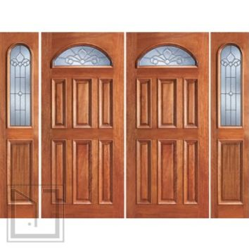 Prehung Mahogany Fan Lite Entry Double Door Two Sidelights