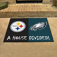 "NFL - Steelers - Eagles House Divided Rug 33.75""x42.5"""