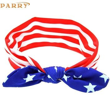 PARRY Best seller drop ship Baby New Baby American Flag Pattern Rabbit Ears Elastic Cloth Headband hair accessories Feb7 S40