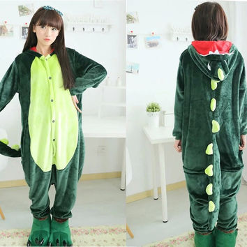Unisex Pajamas  Adult Animal Pyjama Sets green pink dinosaur Cartoon Onesuits Cosplay Costume Sleepwear