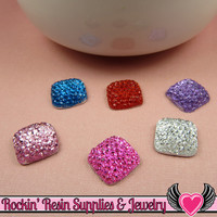 20 pcs Sparkly Fake Rhinestone Squares 12mm Resin Flatback Decoden Kawaii Cabochons