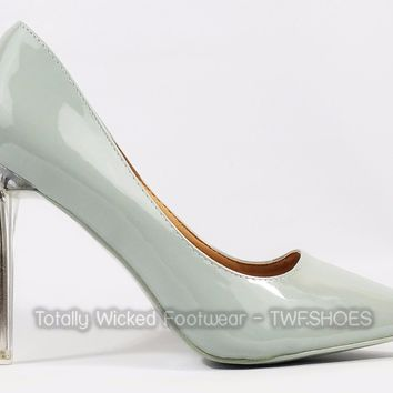 Cape Robbin Pointy Toe Pump With Lucite Clear Stiletto Heel Gray Patent