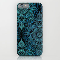 Black & Aqua Protea Doodle Pattern iPhone & iPod Case by Micklyn
