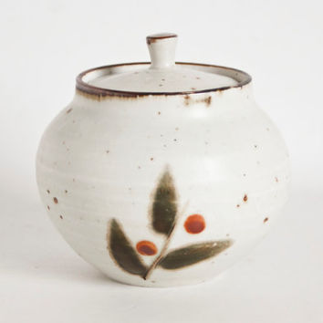 Vintage Otagiri Bittersweet Stoneware Sugar Pot, Jelly Jam Jar with Lid, Hand Painted, Made in Japan