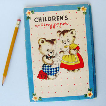 Vintage Stationery Set Children's Writing Paper Whitman's 304 Illustrated Bear Cubs Kittens Puppies