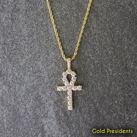 Gold Ankh Cross Necklace