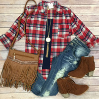 Stories by the Fire Plaid Flannel Top: Red/Blue
