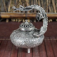 China old Feng Shui ornaments white Copper Silver plating Dragons Incense burner