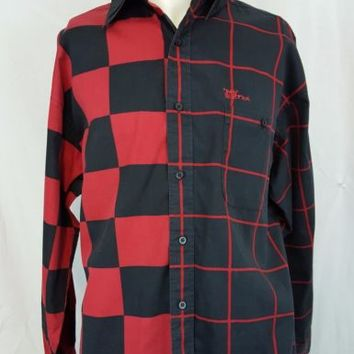 Mo Betta  Garth Brooks Western Plaid Men's Button Front Red Black Shirt