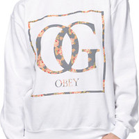 Obey Girls Boxed OG Floral White Throwback Crew Neck Sweatshirt at Zumiez : PDP
