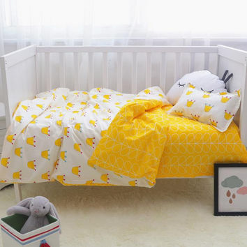 3Pcs/ Sets Cotton Baby Bedding Sets Custom Made Cartoon Printing Baby Bed Cot Sheet  No stimulation Comfortable Baby Bedding