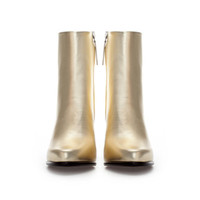 GOLD HIGH HEEL LEATHER ANKLE BOOT