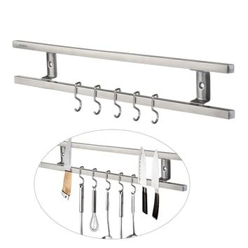 OUNONA Wall-mounted Magnetic Knife Holder Double Bar Knife Rack for Knives Utensils and Kitchen Sets