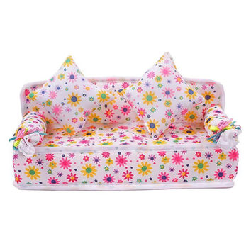 Chic Mini Dollhouse Furniture Flower Soft Sofa Couch With 2 Cushions For Doll House Accessories
