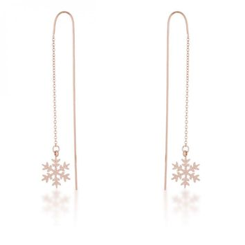 Noelle Rose Gold Stainless Steel Snowflake Threaded Drop Earrings E01874A-V00